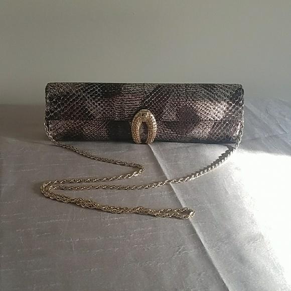 Rodo Handbags - Rodo Bronze Snake Skin Clutch